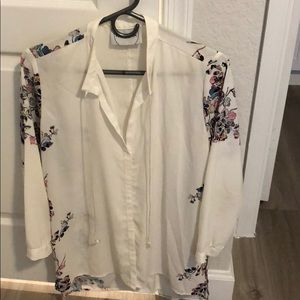 White floral neon multicolor printed blouse